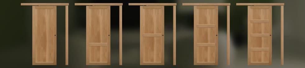 Porte scorrevoli esterno muro in legno massello doorself - Porta scorrevole esterno muro fai da te ...